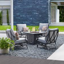 hton bay highland point 5 piece aluminum and steel patio fire pit