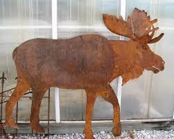 rustic metal moose garden stake