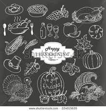 happy thanksgiving food doodles isolated on stock vector 750142075