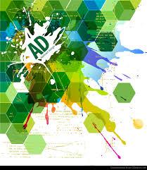 abstract hexagonal with paint splat vector illustration vector