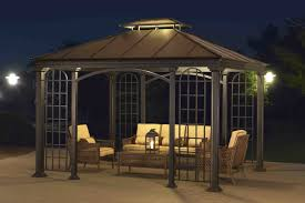 Sunjoy Industries Patio Heater by Sunjoy Summerville 12 Ft W X 10 Ft D Metal Permanent Gazebo