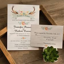 rustic invitations boho antler flower rustic wedding invites ewi415 as low as 0 94