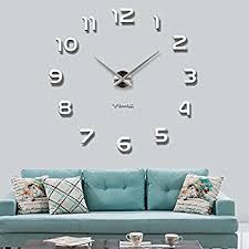 Large Mirrored Wall Clock Amazon Com Looyuan Diy Large Wall Clock 3d Mirror Sticker Metal