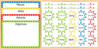 verb early years eyfs verbs noun adjective wow page 1