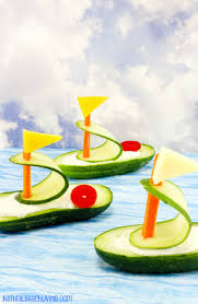 cucumber boat shaped snack for kids natural beach living