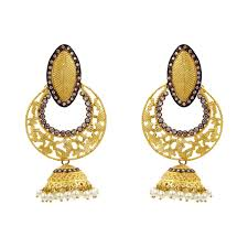 artificial earrings online golden jhumka earrings with white fashionbale earrings