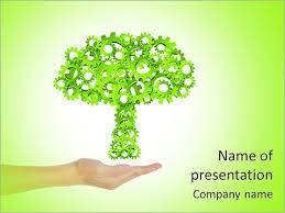 hand hold green tree of industrial gear environmental concept