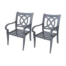 Aluminum Patio Chairs by Shop Allen Roth Set Of 2 Newstead Gray Textured Slat Seat