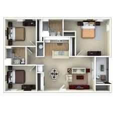 3 Bedroom Floor Plans 3bedroom 3d Floor Plan Glenbrook Apartments In Sarasota Fl