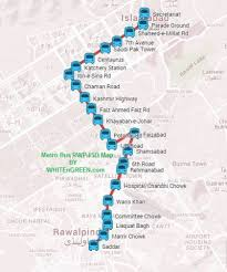 gt cus map metro service rawalpindi islamabad route map with