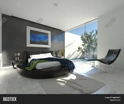modern luxury bedroom with black leather and grey and white decor