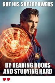 Reading Book Meme - got his superpowers by reading books and studying hard