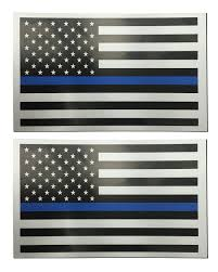 American Flag Magnet 2 Pack Of Thin Blue Line Flag Rectangle 3x5 Inch White Car Magnets