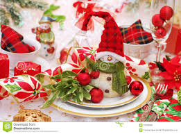 christmas table setting in red and green colors stock photo