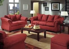Red Loveseat Merlot Microfiber Sofa U0026 Loveseat Set W Attached Loose Pillows