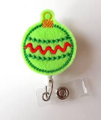 ornament green retractable id badge reel