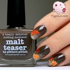 piggieluv fall nail art autumn leaves on glitter gradient