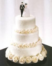 simple wedding cake ideas pretty w initials on top white cake w butter roses blue ribbon