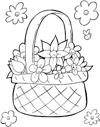 easter basket egg colouring page easter baskets printable at