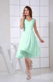 honeydew plain a line v neck sleeveless knee length prom dresses