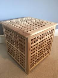 ikea wooden bedside table laundry basket storage box in