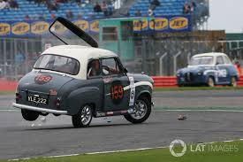 ac dc frontman brian johnson rolls his austin a35 at silverstone