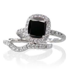 black engagement ring set 2 carat unique black and bridal ring set on 10k