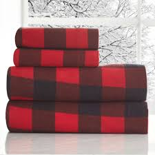 bedroom plaid flannel sheets and window seats plus