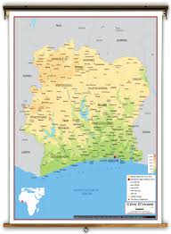Ivory Coast Map Côte D U0027ivoire Physical Educational Wall Map From Academia Maps