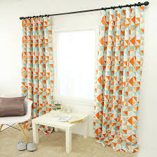 Geometric Orange Curtains Geometric Patterned Orange Mint Blackout Curtain
