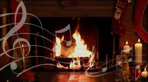 cozy yule log fireplace with crackling christmas music hd