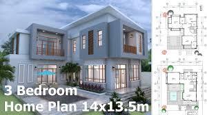 sketchup modern home plan 14x13 5m youtube