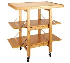 folding island kitchen cart with extendable shelves page 1 u2014 qvc com