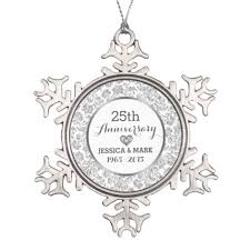 25th wedding anniversary christmas ornament white silver 25th wedding anniversary snowflake pewter christmas