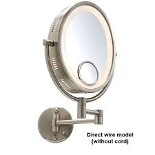 wall mounted hardwired lighted makeup mirror gordon glass hl9515h 10 nickel finish halo lighted wall mount