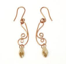 wire earrings chagne copper wire earrings handmade wire design copper