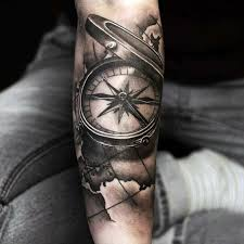 tattoo compass realistic realistic grey compass tattoo on sleeve