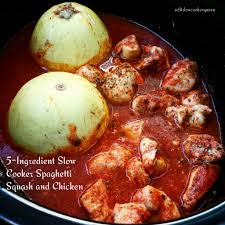 5 ingredient slow cooker spaghetti squash u0026 chicken fit
