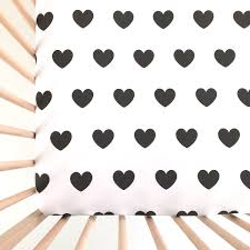 crib sheet black hearts fitted crib sheet baby bedding crib