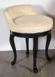 Vanity Chairs And Stools 1940s Hollywood Swivel Vanity Stool In Faux Lambs Wool And