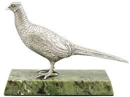 silver pheasant ornament vintage elizabeth ii