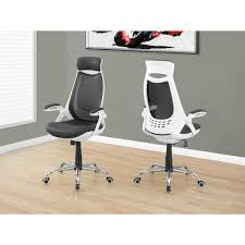 monarch specialties white and grey high back office chair i 7269