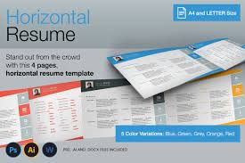resume templates that stand out horizontal 4 pages resume resume templates creative market