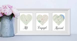 wedding gift map framed met engaged married personalised map story