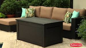 rubbermaid patio chic storage bench youtube