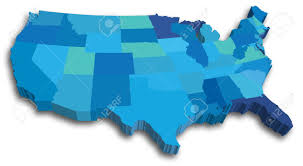 vector us map states free an us state map in blue 3d tones royalty free cliparts vectors