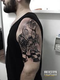 clown chess tattoo by el loco tattoo lounge
