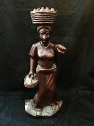 19 fruit basket haitian wood carving signed j w michel