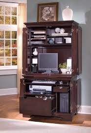 Computer Desk With Doors Brown Wooden Computer Desk With Hutch And Doors Also File