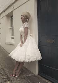 new white ivory tea length short vintage lace wedding dress size 6